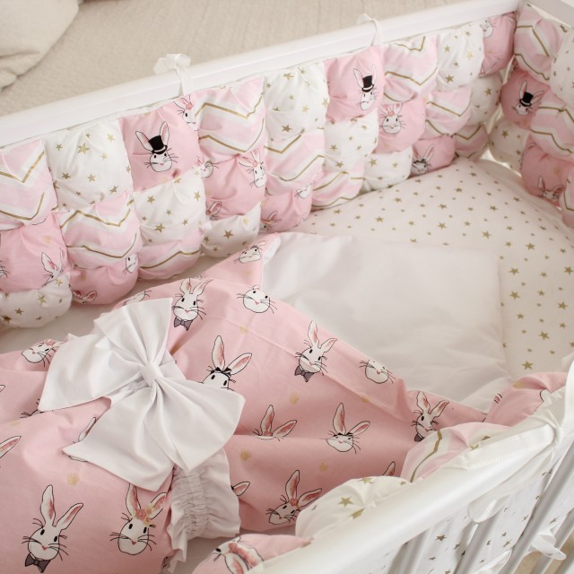 Бортики Пуфборт В стране чудес Зайки розовые