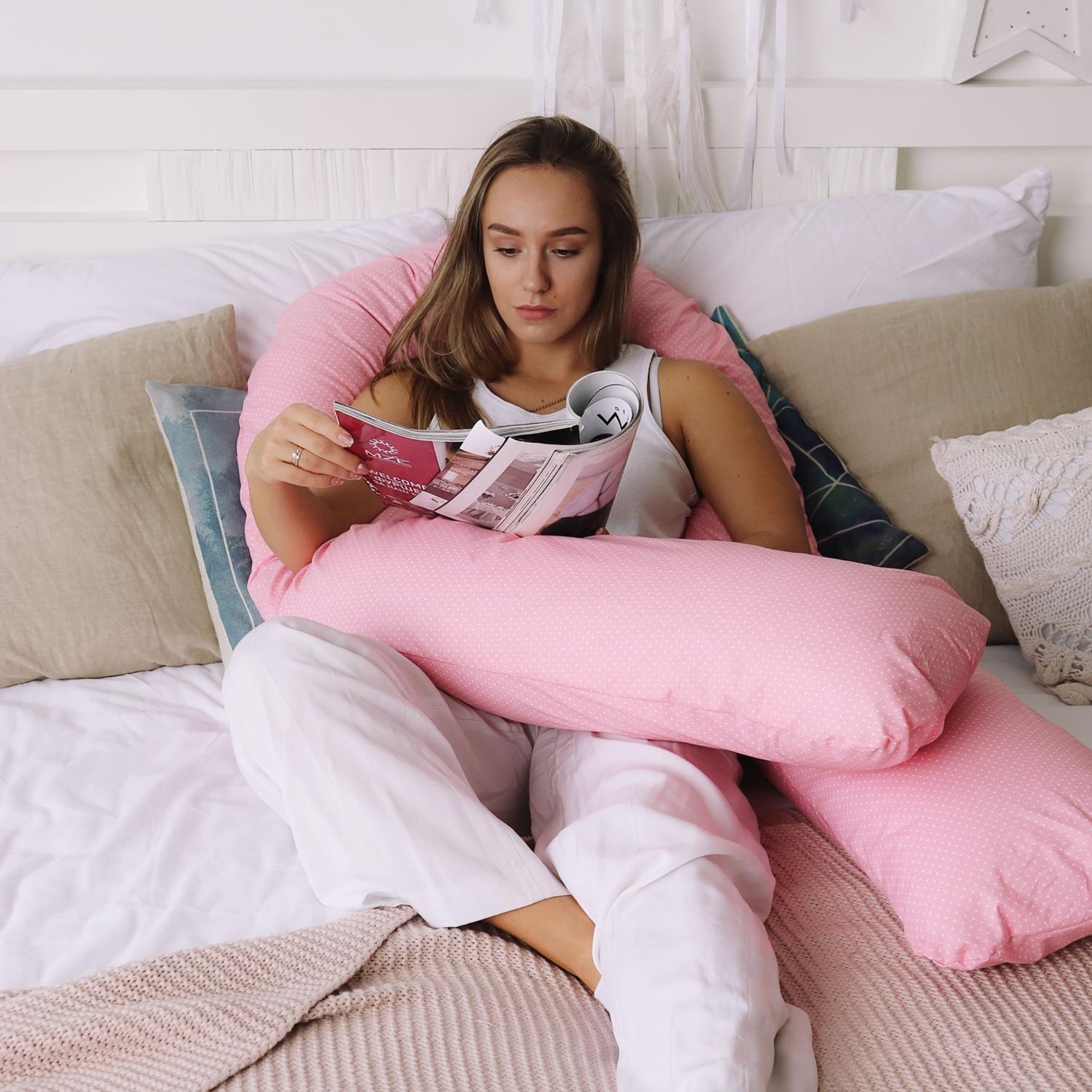 Подушка для беременных U280 Горошек на розовом