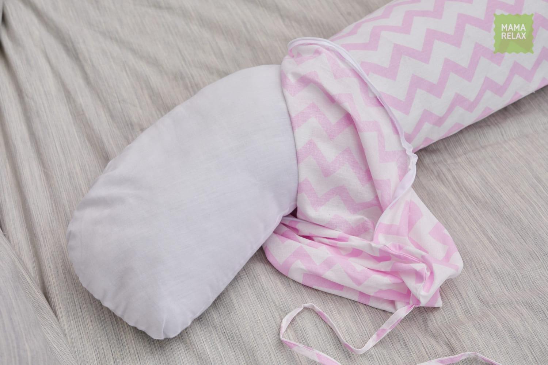 Подушка для беременных бумеранг Зигзаги розовые