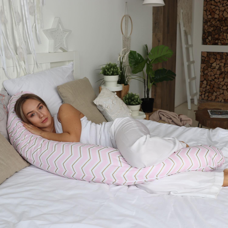 Подушка для беременных бумеранг Зигзаги золотые