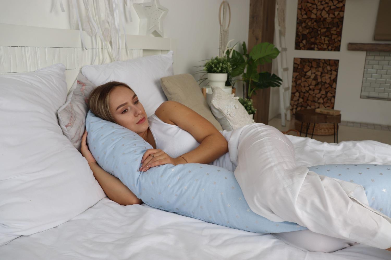 Подушка для беременных бумеранг Звездочка голубая