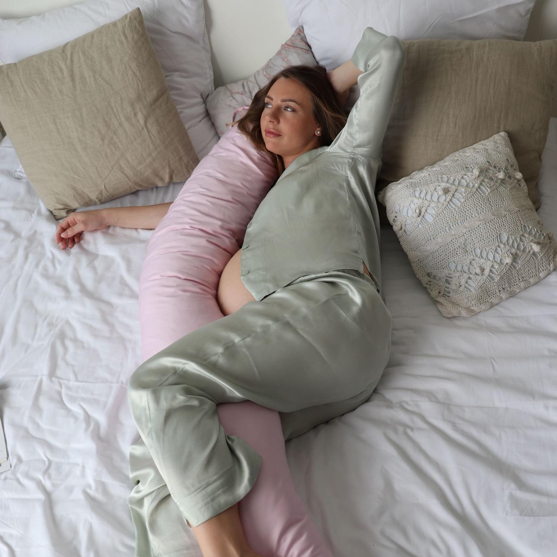 Подушка для беременных бумеранг сатин Розовый