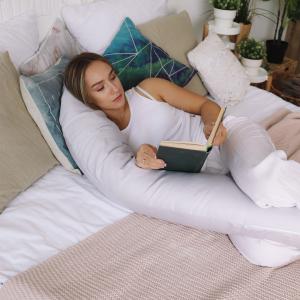 Подушка для беременных бумеранг сатин Серый