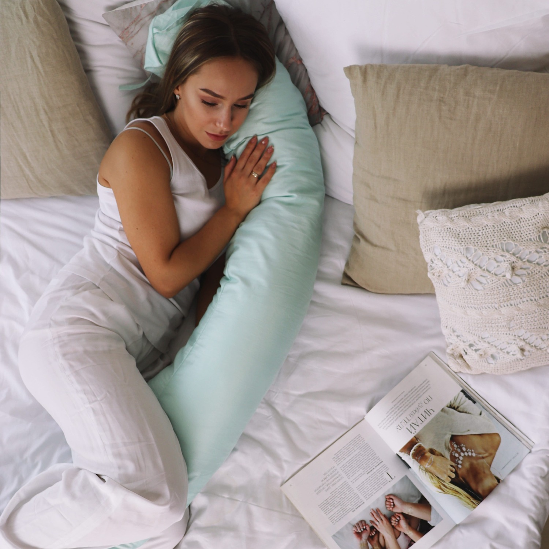 Подушка для беременных бумеранг сатин Мята