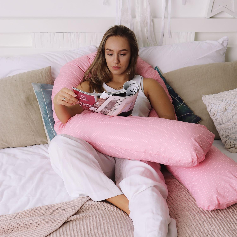 Mama Relax Наволочка U280 Белый горошек на розовом